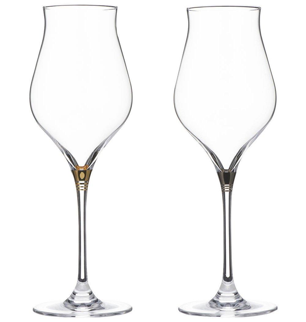 Stolzle Shutorutsuru stem ring red and white combination wine glass pair [ gift box input ] Gold u0026 Platinum