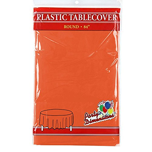 Orange Round Plastic Tablecloth - 4 Pack - Premium Quality Disposable Party Table Covers for Parties and Events - 84