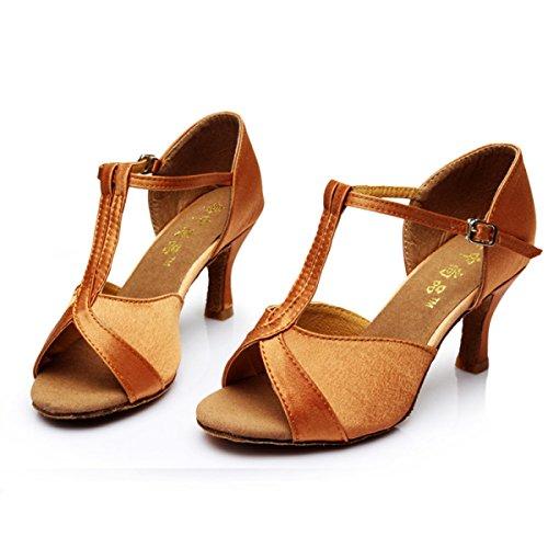 Shoe Sandali 38 brown Professionista Satin Med Colori Latino Scarpe Delle Della Donne Salsa Ballroom Dance Ragazza Superiore altri q1w7xfF0