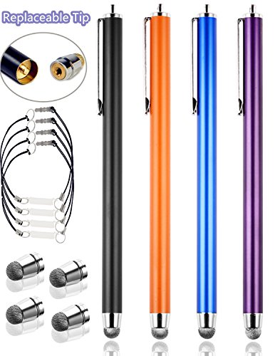 Counter Clockwise Barrel (Bargains Depot [0.24-inch Micro-fiber Tips Series] 4Packs Universal Replaceable Thin Micro-Fiber Tip Ultra Sensitive Stylus Styli (Red/Black/Purple/Dark Blue))