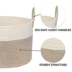 HanShoo Extra Large Cotton Rope Laundry Basket -19.7X 13.8 inches Baby Round Woven Baskets – Big Storage Basket for Shoe, Towels, Pillow, Throw, Clothes, Blanket,Toy