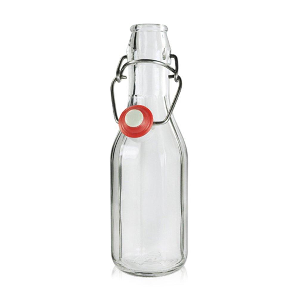 Kurtzy Pack 12 Botellas de Vidrio Herméticas con Tapón Preservar Líquidos Botellas 100ml -3,3oz Transparentes para Bebidas Hechas en Casa, Cerveza, Vino, ...