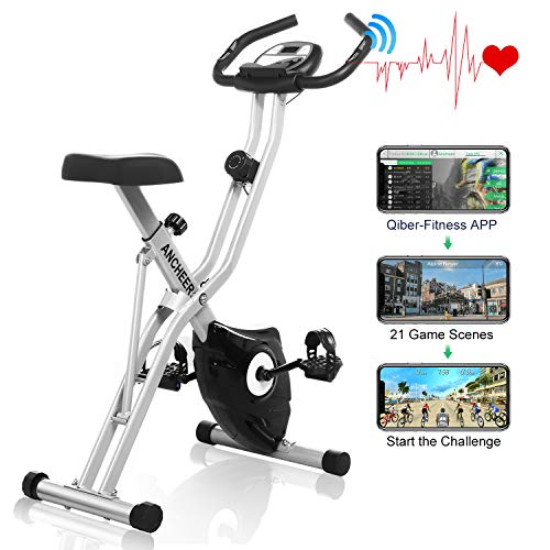 ANCHEER Folding Magnetic Exercise Bike, 10-Level Adjustable Stationary Bike - Tablet Stand & Large and Comfortable Seat