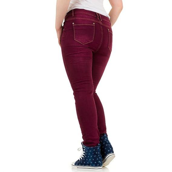 Damen Jeans, MOZZAAR USED LOOK ÜBERGRÖßEN SKINNY JEANS, KL-J-C716-F40, Rot,  42: Amazon.de: Bekleidung