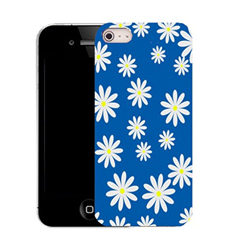 Mobile Case Mate IPhone 4 clip on Silicone Coque couverture case cover Pare-chocs + STYLET - blue small cluster daisy pattern (SILICON)
