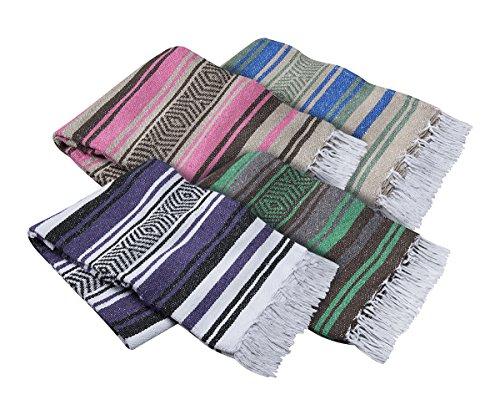 (El Molcajete Brand Traditional Mexican Yoga Blanket Serape Assorted Colors)