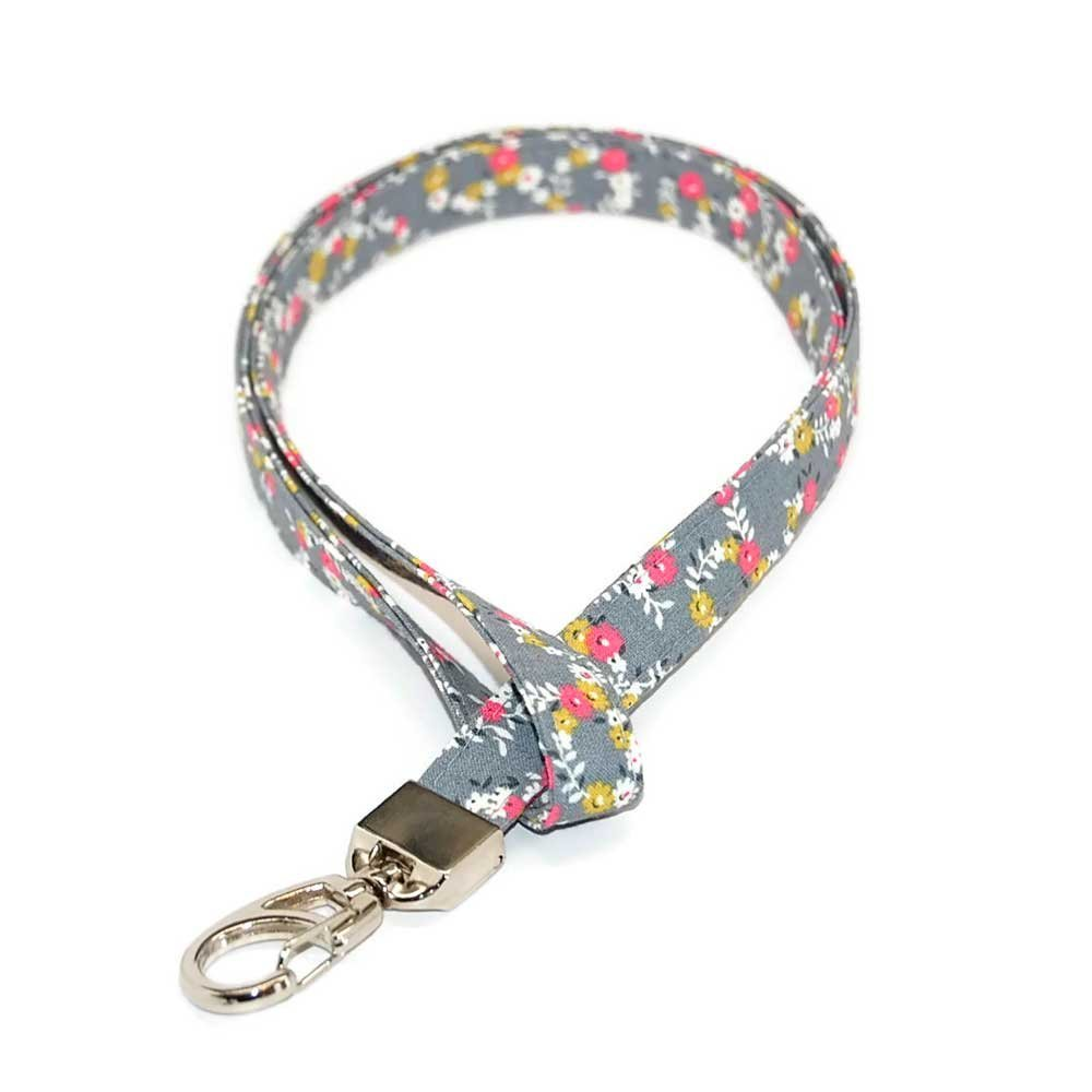 Floral Lanyard for ID or Keys Grey Pink Fabric with Clip Free Shipping
