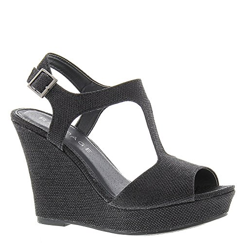 Rampage Women's Candelas Dress Platform Wedge Sandals 9 Black Glitter Mesh