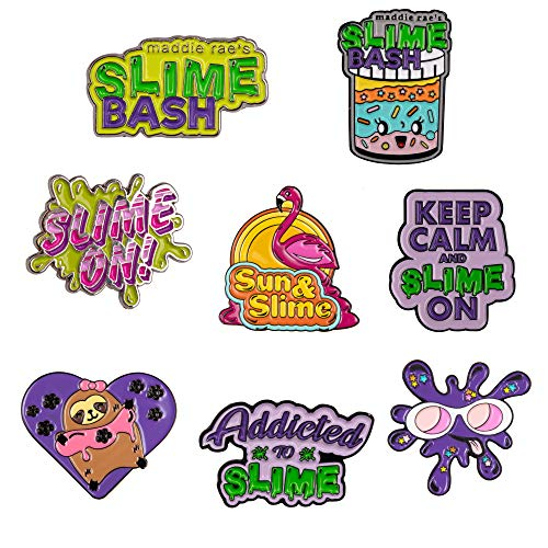 Slime Enamel Pin Set of 8 - Limited Edition Cute Lapel Pins for Jackets, Hats, Backpacks, Shoes - Collect Them All!