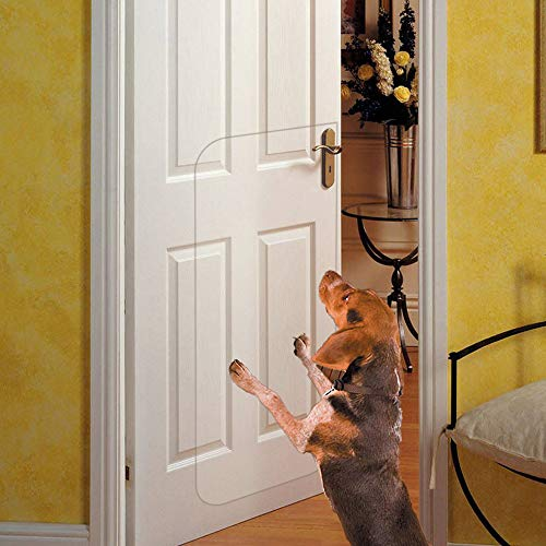 (IN HAND Clear Door Scratch Protector, Deluxe Pet Door Scratch Shield Protect Your Doors & Walls, Heavy Duty Flexible Door Guard Cover)