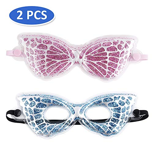 Eye Blue Mask Gel (Gel Eye Mask Cooling Eye Mask for Relaxing, Spa Gel Ice Eye Mask with 2 Pack for Headache, Dry Eyes, Dark Circles, Stress Relief - Blue with Eye Holes)