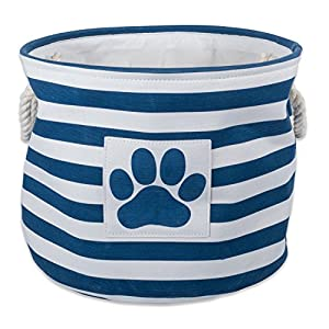 "Bone Dry DII Small Round Pet Toy and Accessory Storage Bin, 12""(Dia) x9(H), Collapsible Organizer Storage Basket for Home Décor, Pet Toy, Blankets, Leashes and Food-Navy Stripes"