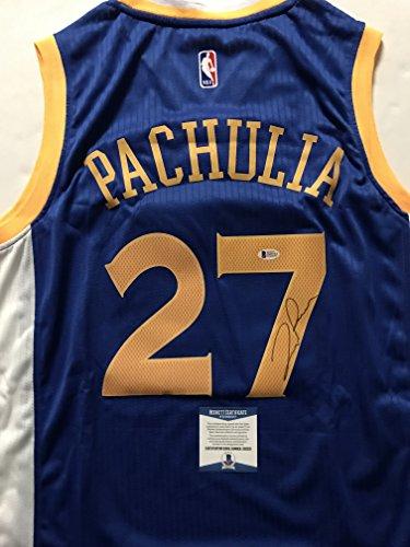 Autographed Signed Zaza Pachulia Golden State Warriors Blue Basketball Jersey Beckett Bas Coa