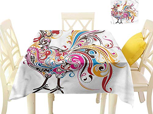 (WilliamsDecor Tassel Tablecloth Gallus,Ornamental Colorful Roosters Tassel Tablecloth W 70