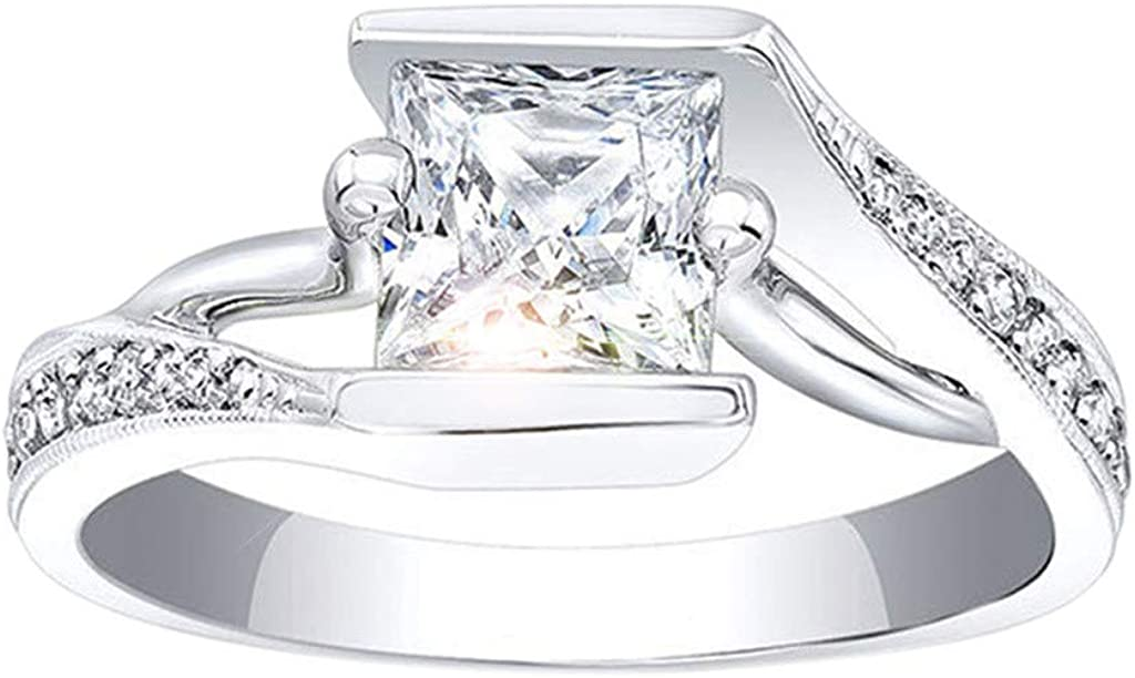 WoCoo - Juego de anillos de boda para mujer con diamantes de ...