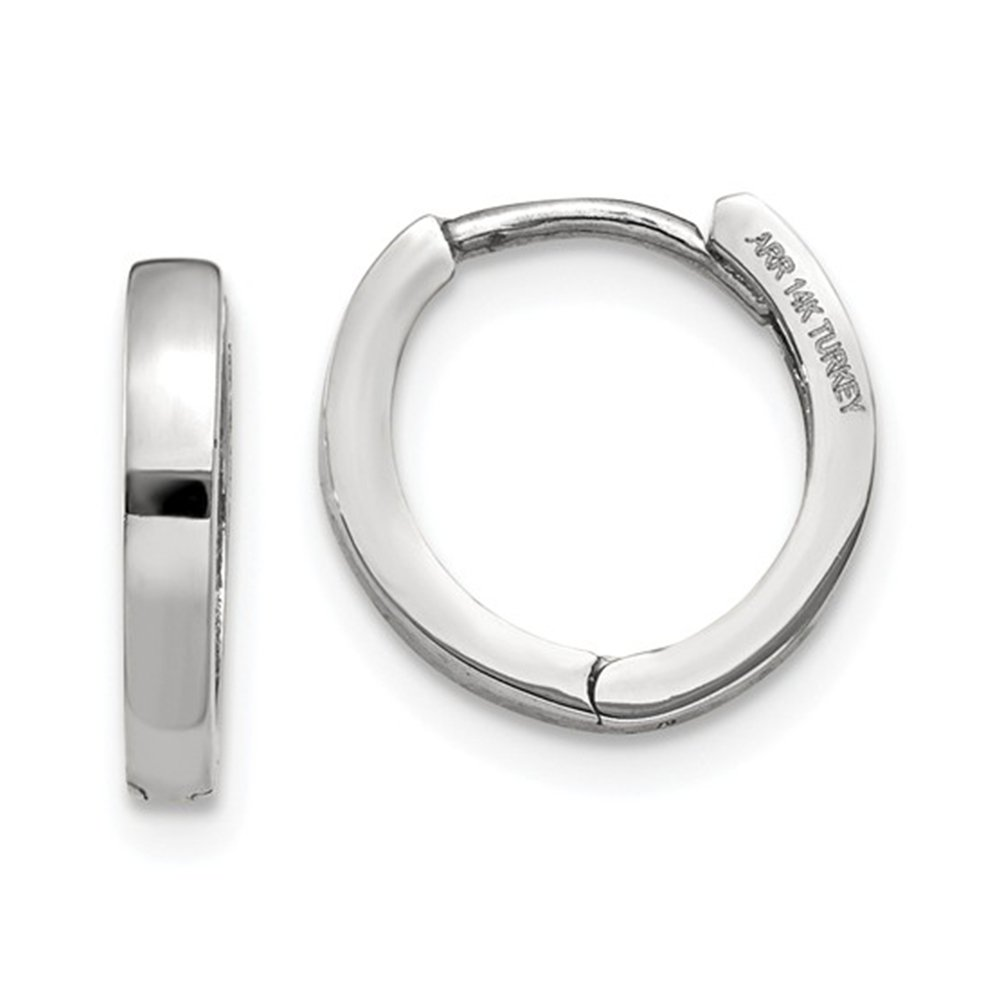 Small 14K Gold Wide Huggie Hoop Earrings with Hidden Post, 0.4 in (11mm) (1.5mm Wide) (White) by LooptyHoops