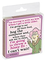 Tree-Free Greetings Set of 4 Cork-Backed Coasters, 3.75 x 3.75 Inches, Aunty Acid Move In (EC96504)