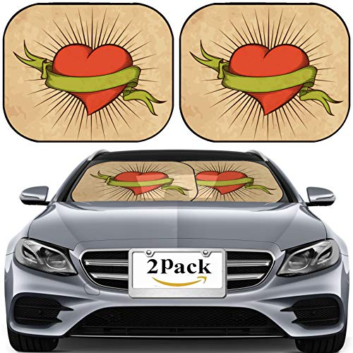 MSD Car Sun Shade for Windshield Universal Fit 2 Pack Sunshade, Block Sun Glare, UV and Heat, Protect Car Interior, Heart with Ribbon in Tattoo Style on Old Paper Photo 12306752 ()