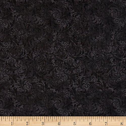 Timeless Treasures 0530369 Garden Journal Tonal Filigree Black Fabric by The Yard,