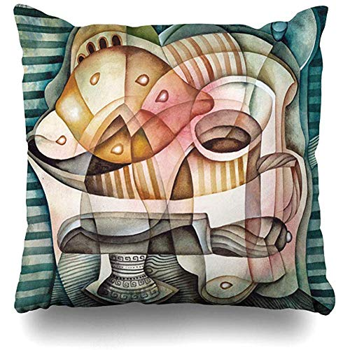 - Throw Pillow Cover Decorative Cases Artist Green Cubist Still Life Lemon Picasso Food Oil Drink Ange Table Paint Abstract Aged Design Home Decor Cushion Case Square 18 x 18 Inches Zippered