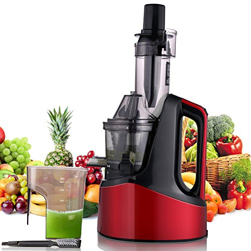 Slow Masticating Juicer Extractor, Cold Press Juicer Machine with Brush to Clean Conveniently High Nutrient Fruit and Vegetable Juice (Red)