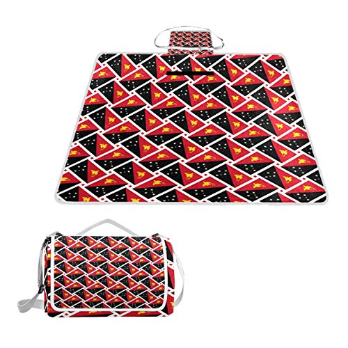 Travelling Papua New Guinea - LOIGEIDQ Picnic mat Papua New Guinea Flag Weave Waterproof Outdoor Picnic Blanket, Sandproof and Waterproof Picnic Blanket Tote for Camping Hiking Grass Travelling DualLayers