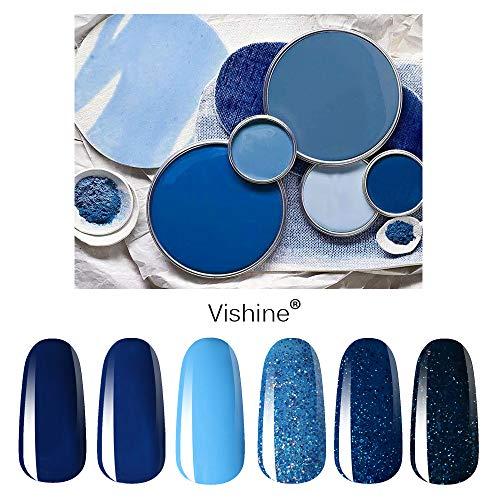 Vishine Soak Off UV LED Gel Nail Polish Set Blue Glitter Colors, 8ml Each Nail Gel Manicure Kit