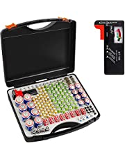 Battery Organizer Storage Case with Battery Tester, 166 Batteries Holder Container Box for AA AAA AAAA 9V C D Lithium 3V LR44 CR2 CR1632 CR2032 CR123A
