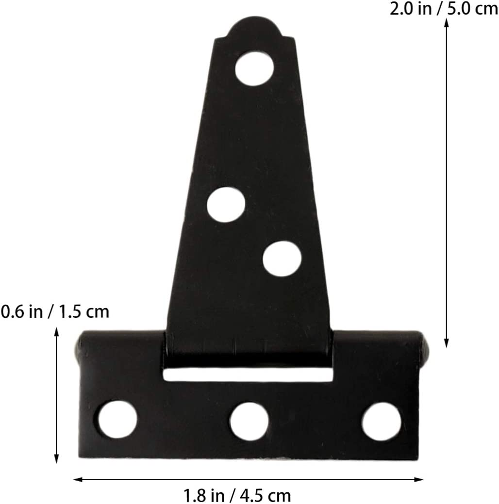 DOITOOL 2PCS Black T Strap Hinges Heavy Duty Gate Hinges for Wooden Fences or Metal Gates Iron Rustproof Barn Door Hinges Shed Door Hinges 2 Inch
