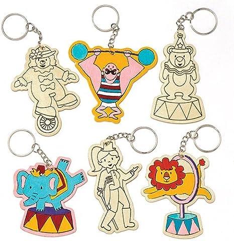 Llaveros de Madera con Personajes del Circo Que los niños Pueden Colorear y Decorar - Juego de Manualidades Infantiles (Pack de 6): Amazon.es: Juguetes y juegos