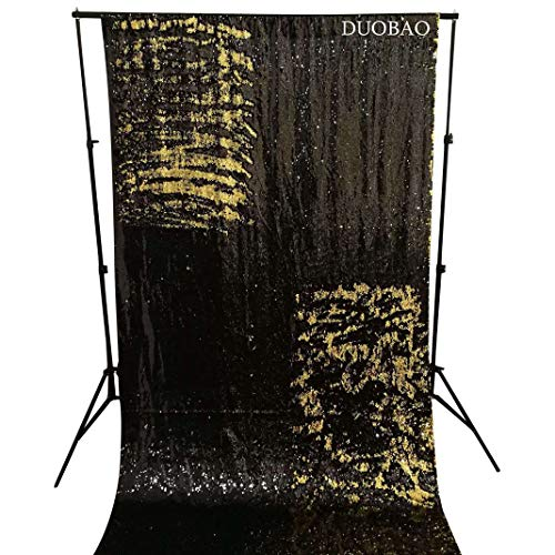 DUOBAO Sequin Backdrop Curtains 2 Panels 4FTx8FT Reversible Sequin Curtains Black to Gold Mermaid Sequin Curtain for Wedding Backdrop Party Photography Background by DUOBAO (Image #1)