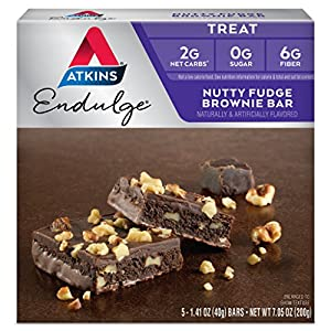 Atkins Endulge Treat Nutty Fudge Brownie Bar. Decadent Brownie Treat with Chocolatey Coating and Walnuts. Keto-Friendly. (5 Bars)