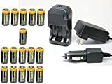 Ultimate Arms Gear 16pc CR123A 3V 1200 mAh Lithium Rechargeable Batteries Battery Charger Kit Universal 110/220V Rapid Wall Outlet & 12V Car Lighter Plug Adapter FAB DEFENCE DEFENSE Flashlight