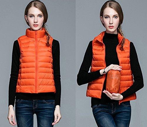沿って抜本的な協力的秋冬超軽量アヒルダウンベスト_orange_S
