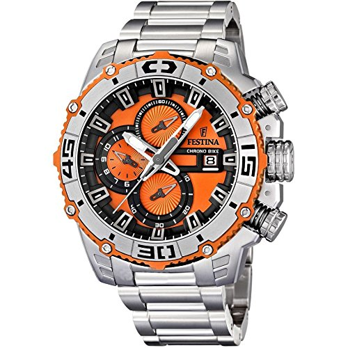 s stainless men watches chronograph grey quartz display and bracelet festina brown dial silver bike with watch chrono dp