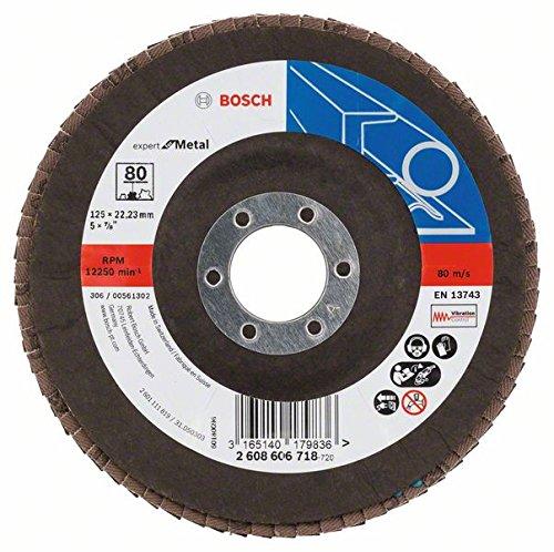 pour meuleuse d/'angle pour diff/érents mat/ériaux, mod/èle bomb/é, /Ø/125/mm, grain/80, emballage /«/D/éballer sans s/'/énerver//» Bosch DIY Disque /à lamelles