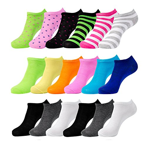 (Women's Low Cut No-Show Fit Socks,Value Pack of 18 Pairs, Sock Size 9-11, Shoe Size 4-10.5 by Sockletics)