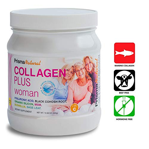 Prisma Natural Woman Collagen PLUS Protein Supplement, 300g, Powder, Type I Marine-based Hydrolyzed Collagen Peptides with Black Cohosh and Maca Root for Hormonal Balance and Chondroitin MSM for Bones