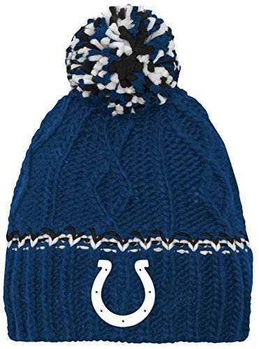 Colts Knit Hats - NFL by Outerstuff NFL Girls 7-16 Cable Knit Rib Cuffless Hat-Speed Blue-1 Size, Indianapolis Colts
