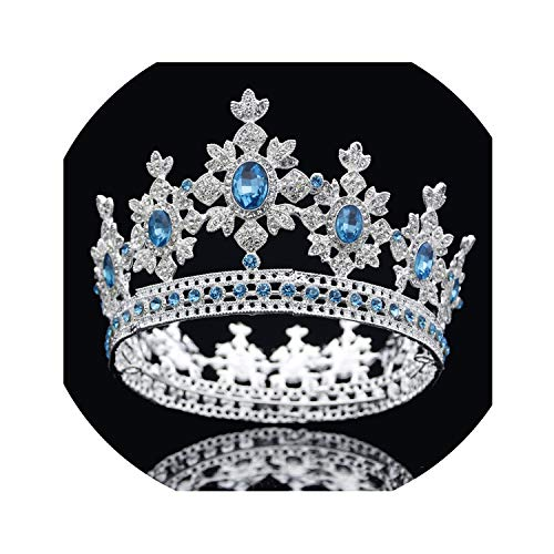 Luxury Crystal Rhinestone Crown Tiara Hair Jewelry Bridal Tiaras and Crown Queen King Hair Ornaments Pageant Wedding Headpiece,Silver Light ()