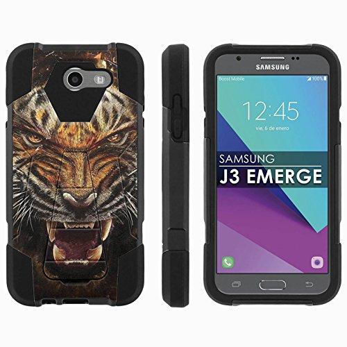 Samsung Galaxy J3 Emerge [2017] Mil-Spec [Mobiflare] [Black/Black] Dual Layer Armor Case [Kickstand] [Screen Protector] - [Tiger Style] for Galaxy [2017] [J3 Emerge] [5