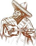 Monkey Mexican Guitarist Home Decal Vinyl Sticker 11'' X 14''