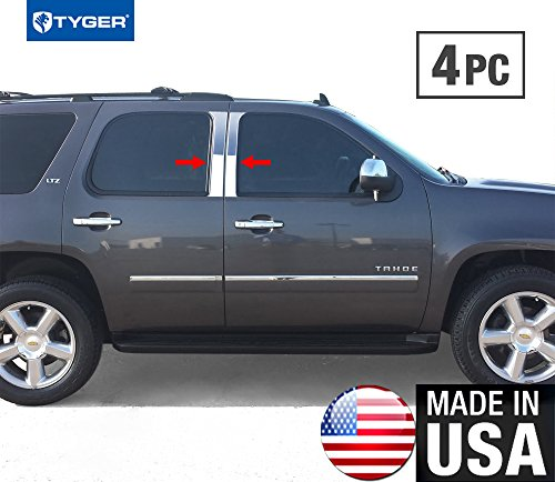 (Made in USA! Works With 07-2014 Chevrolet Tahoe 4 PC Stainless Steel Chrome Pillar Post Trim)