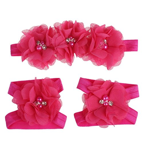 Price comparison product image Tenworld Baby Infants Girls Foot Flower Barefoot Sandals + Headband Set Hot (Hot Pink)