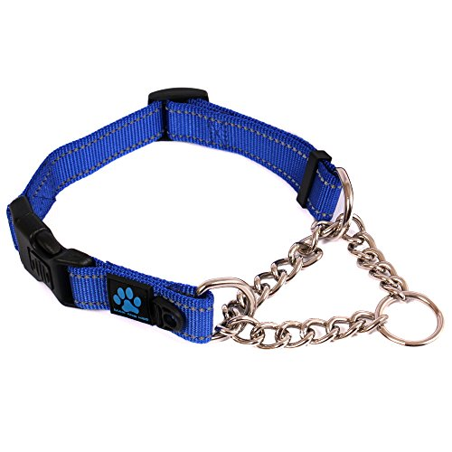 Neo Wide Dog Collar - Max and Neo Stainless Steel Chain Martingale Collar - We Donate a Collar to a Dog Rescue for Every Collar Sold (MEDIUM, BLUE)