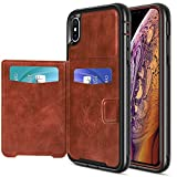 Ansiwee Compatible with Magnetic Car Mount High Impact Hybrid Full Body Protection Armor Case Cover with Leather Wallet Card Slot for iPhone Xs iPhone X Devices 5.8'' (Brown Black)