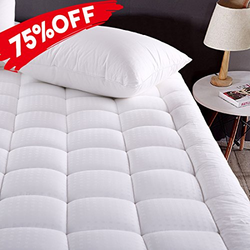 MEROUS Twin XL Size Cotton Mattress Pad down remedy Mattress Cover - Hypoallergenic Fitted Quilted Mattress Topper - Stretches up to 18 Inches Deep