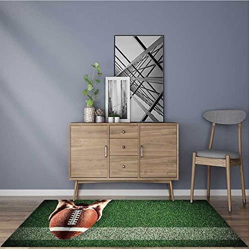modern rugs american football player holding up football against pitch with line Resistant Contemporary Soft Plush Quality 6' X 9'