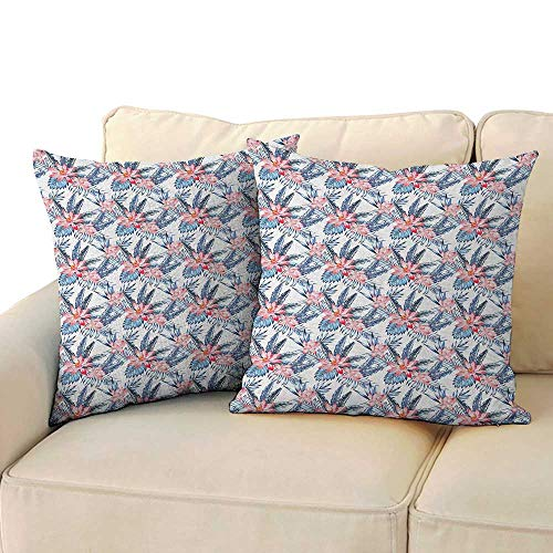 (RenteriaDecor Tropical,Square Pillowcase Leaves of Banana Palm and Lilies Hawaii Brazil Botanical Watercolor Art 16