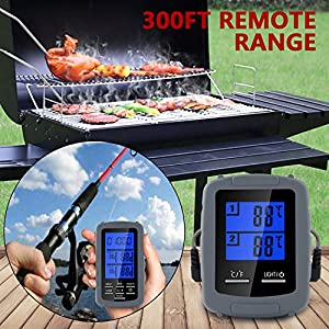 Bullker Wireless Digital Remote Meat Thermometer Dual Probe for Grilling Smoker BBQ Food Thermometer,The Best Wireless Accessories for Safe Remote Grilling, Kitchen Cooking, Smokers